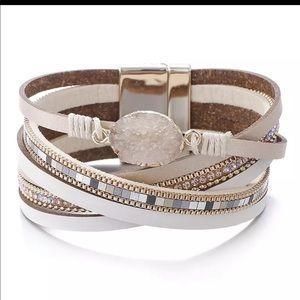 Crystal boho multilayer wrap leather bracelet